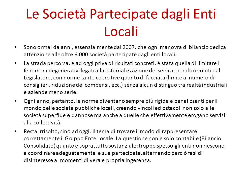 Le Società Partecipate dagli Enti Locali Sono ormai da anni, essenzialmente dal 2007, che ogni manovra di bilancio dedica attenzione alle oltre 6.000 società partecipate dagli enti locali.