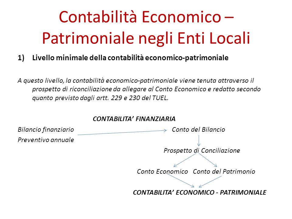Contabilità Economico – Patrimoniale negli Enti Locali 1)Livello minimale della contabilità economico-patrimoniale A questo livello, la contabilità ec