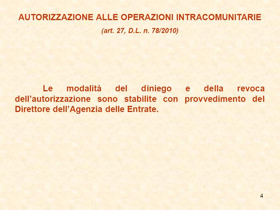 4 AUTORIZZAZIONE ALLE OPERAZIONI INTRACOMUNITARIE (art. 27, D.L. n. 78/2010) Le modalità del diniego e della revoca dellautorizzazione sono stabilite