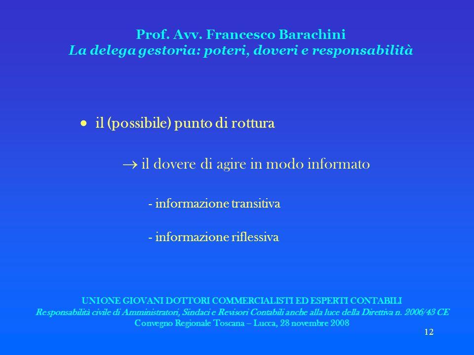 12 Prof. Avv. Francesco Barachini La delega gestoria: poteri, doveri e responsabilità il (possibile) punto di rottura il dovere di agire in modo infor
