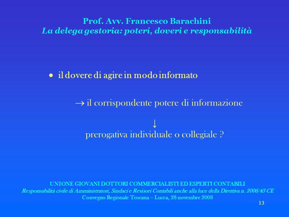 13 Prof. Avv. Francesco Barachini La delega gestoria: poteri, doveri e responsabilità il dovere di agire in modo informato il corrispondente potere di