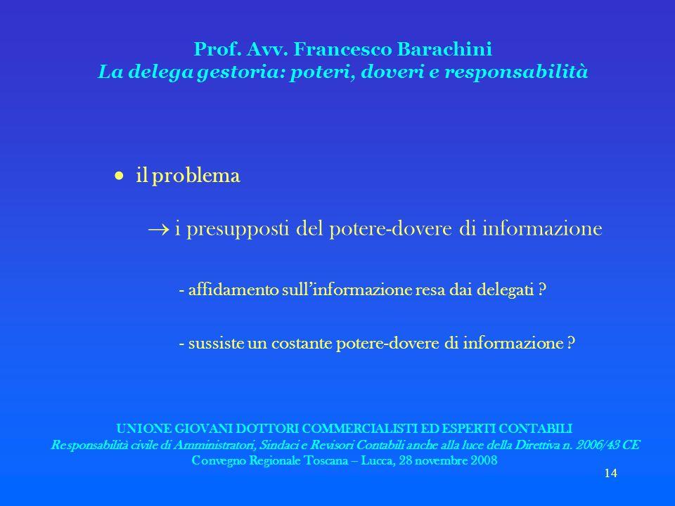 14 Prof. Avv. Francesco Barachini La delega gestoria: poteri, doveri e responsabilità il problema i presupposti del potere-dovere di informazione - af