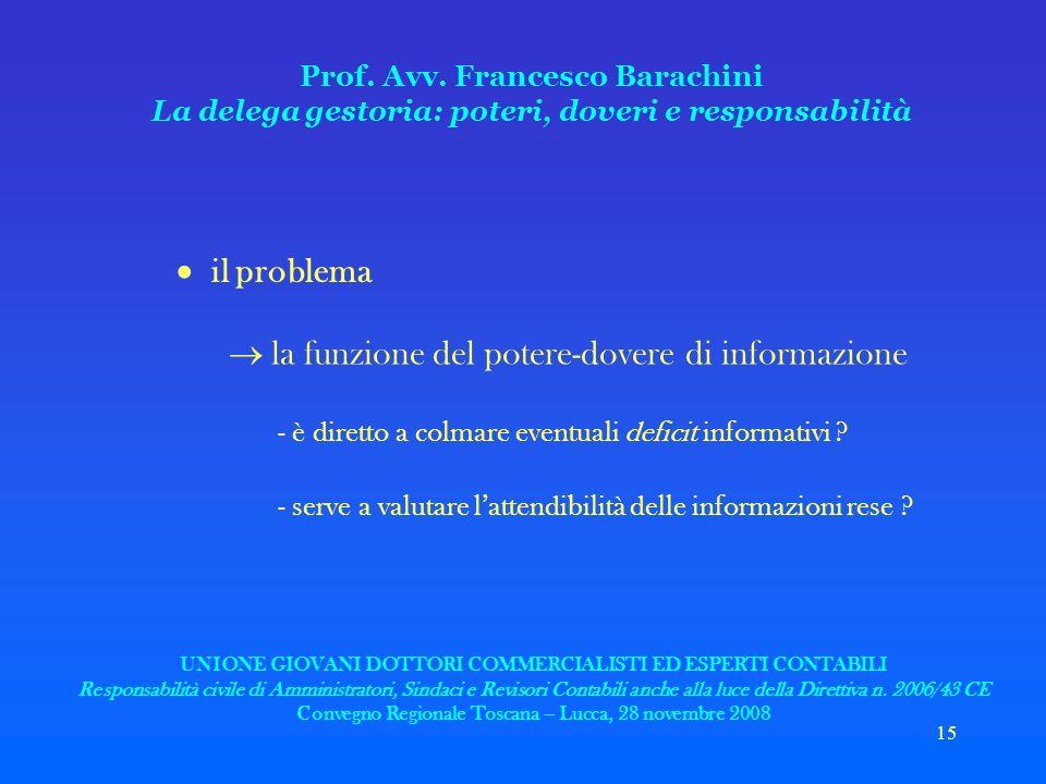 15 Prof. Avv. Francesco Barachini La delega gestoria: poteri, doveri e responsabilità il problema la funzione del potere-dovere di informazione - è di