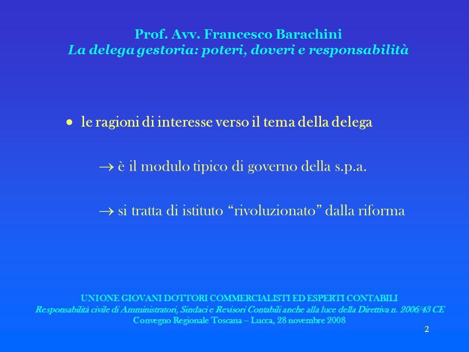 2 Prof. Avv. Francesco Barachini La delega gestoria: poteri, doveri e responsabilità le ragioni di interesse verso il tema della delega è il modulo ti