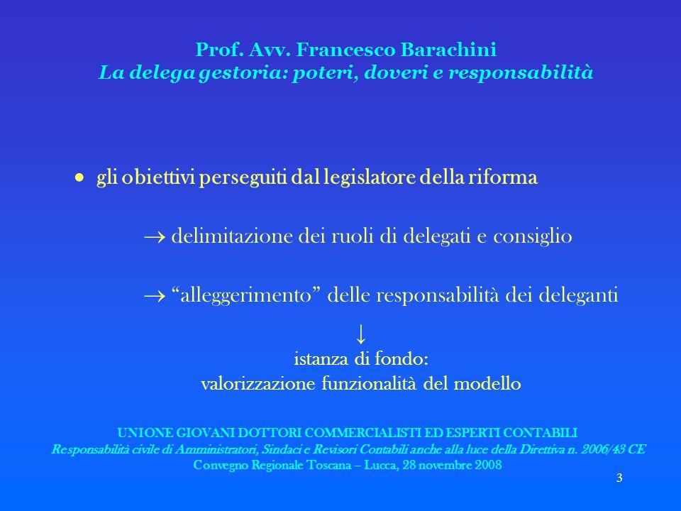 3 Prof. Avv. Francesco Barachini La delega gestoria: poteri, doveri e responsabilità gli obiettivi perseguiti dal legislatore della riforma delimitazi