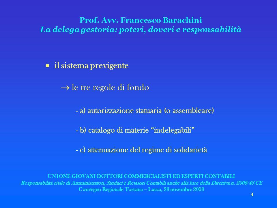 4 Prof. Avv. Francesco Barachini La delega gestoria: poteri, doveri e responsabilità il sistema previgente le tre regole di fondo - a) autorizzazione