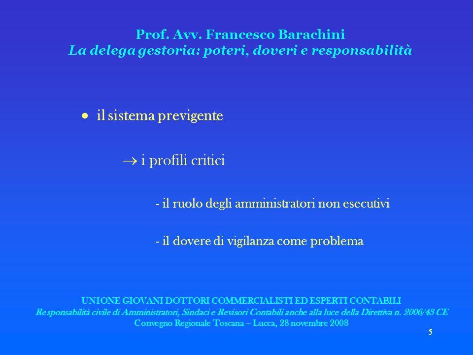 5 Prof. Avv. Francesco Barachini La delega gestoria: poteri, doveri e responsabilità il sistema previgente i profili critici - il ruolo degli amminist