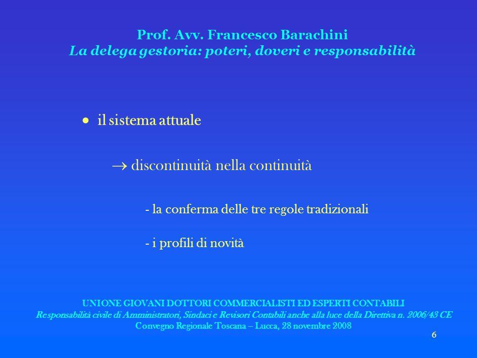 6 Prof. Avv. Francesco Barachini La delega gestoria: poteri, doveri e responsabilità il sistema attuale discontinuità nella continuità - la conferma d