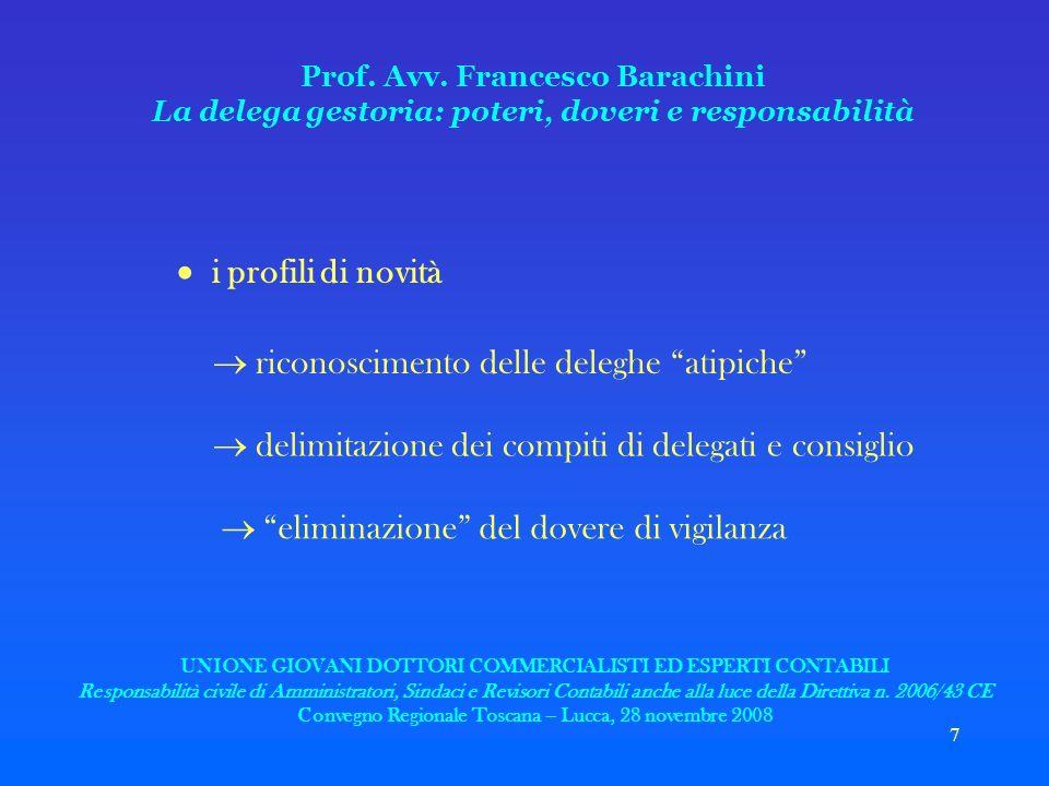 7 Prof. Avv. Francesco Barachini La delega gestoria: poteri, doveri e responsabilità i profili di novità riconoscimento delle deleghe atipiche delimit