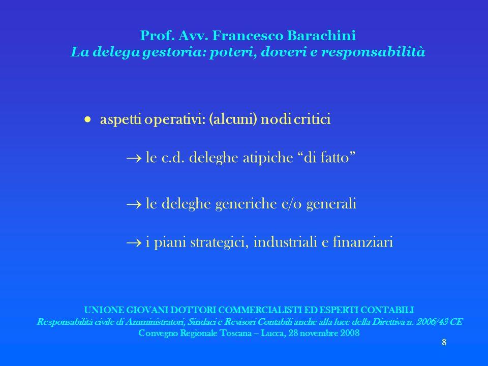 8 Prof. Avv. Francesco Barachini La delega gestoria: poteri, doveri e responsabilità aspetti operativi: (alcuni) nodi critici le c.d. deleghe atipiche