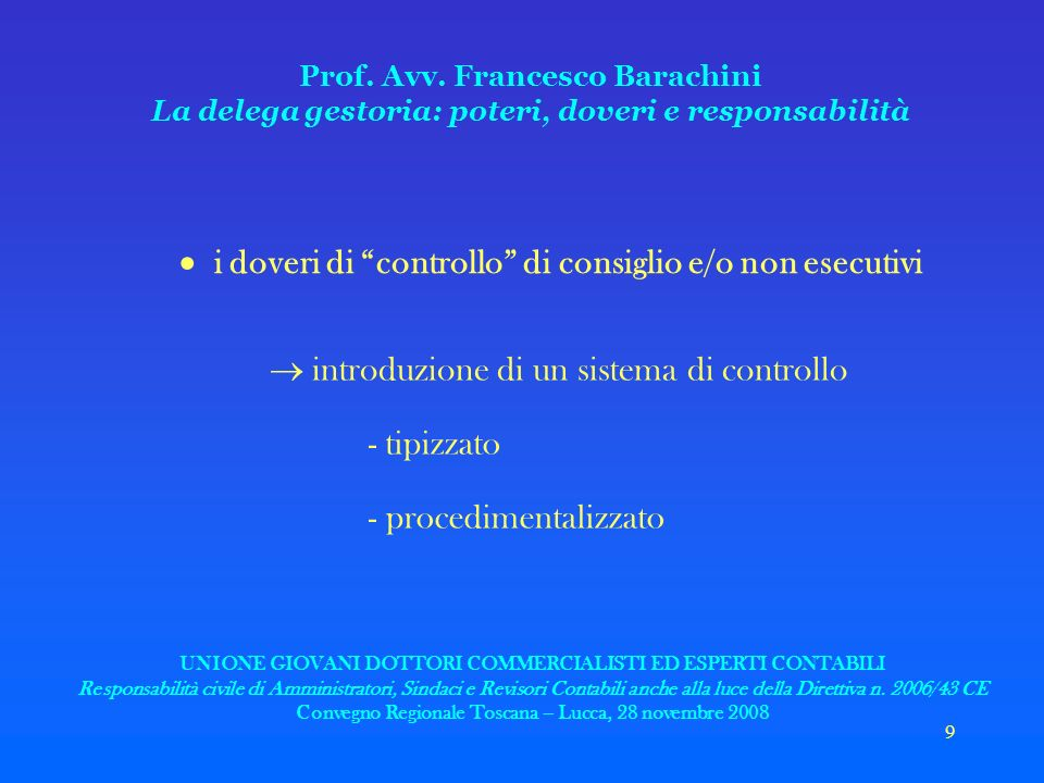 9 Prof. Avv. Francesco Barachini La delega gestoria: poteri, doveri e responsabilità i doveri di controllo di consiglio e/o non esecutivi introduzione