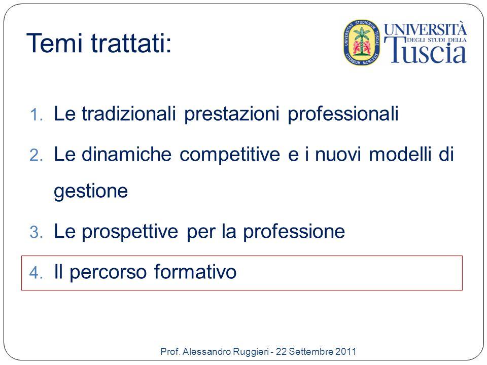 Il percorso formativo Università Aggiornamento professionale e formazione continua Lavorare in un team attivo e collaborativo per poter usufruire delle conoscenze ed esperienze di tutti Prof.