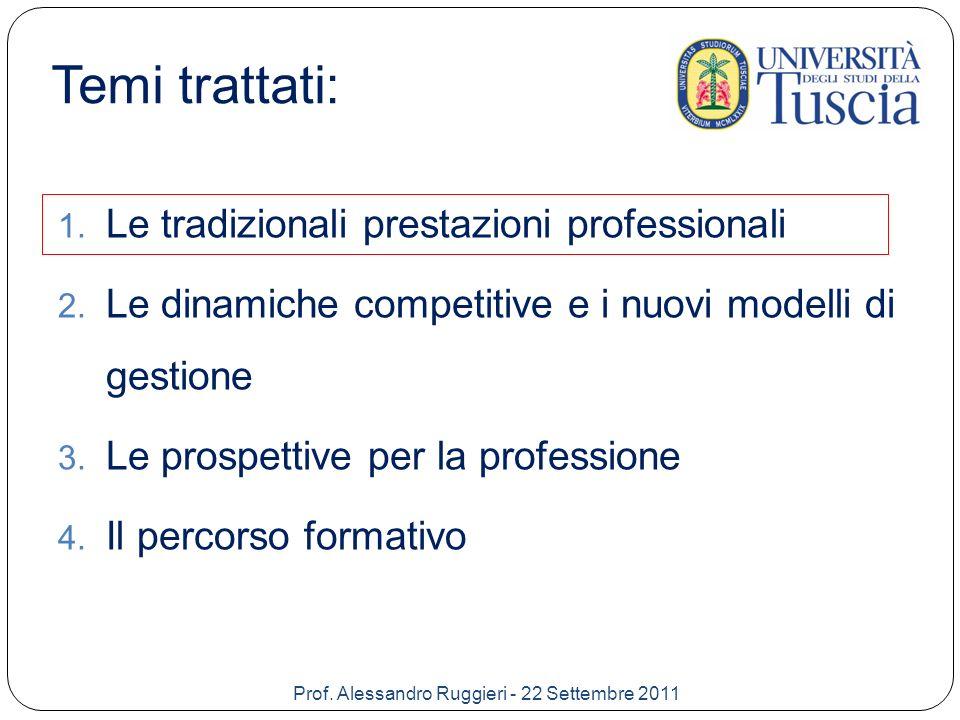 Le tradizionali prestazioni professionali Prof.
