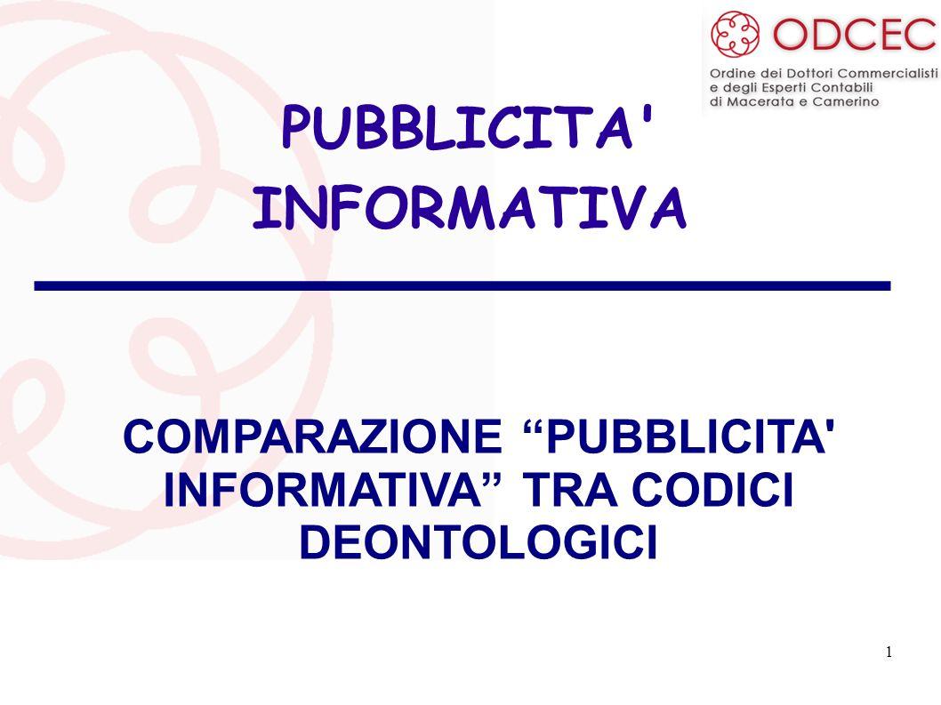 1 PUBBLICITA' INFORMATIVA COMPARAZIONE PUBBLICITA' INFORMATIVA TRA CODICI DEONTOLOGICI