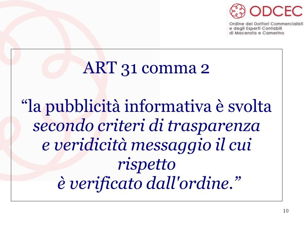 10 ART 31 comma 2 la pubblicità informativa è svolta secondo criteri di trasparenza e veridicità messaggio il cui rispetto è verificato dall'ordine.