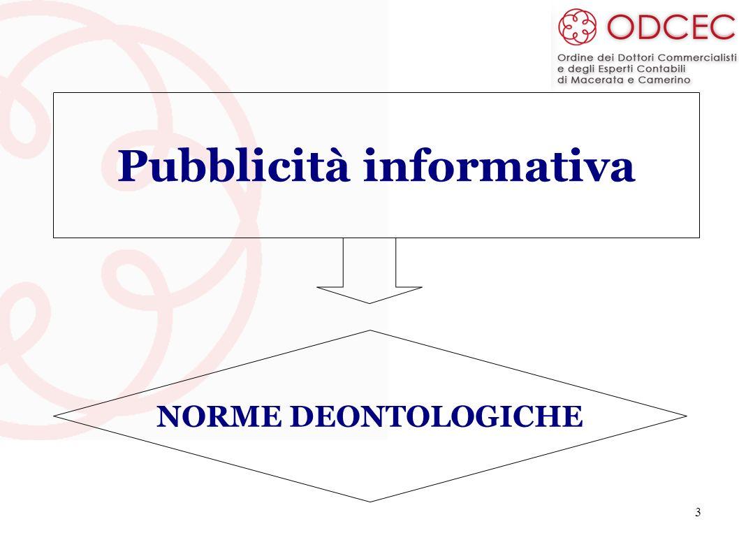 3 Pubblicità informativa NORME DEONTOLOGICHE