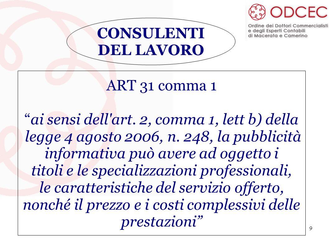 9 CONSULENTI DEL LAVORO ART 31 comma 1 ai sensi dell'art. 2, comma 1, lett b) della legge 4 agosto 2006, n. 248, la pubblicità informativa può avere a
