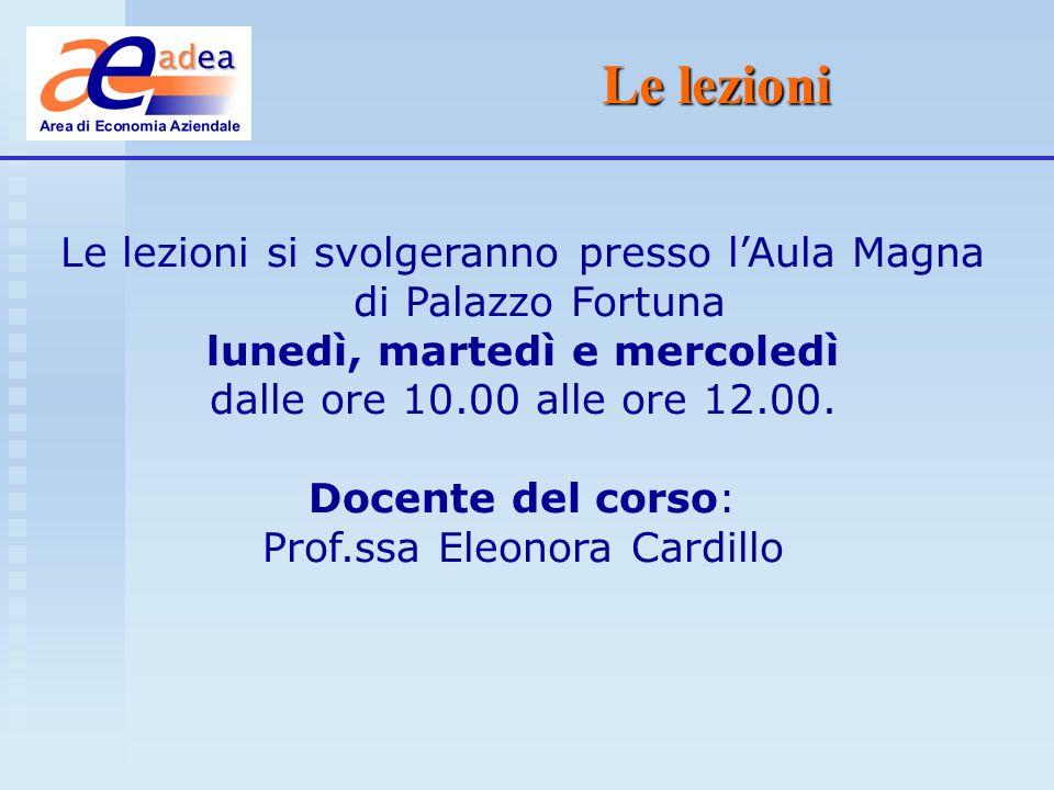 Le lezioni Le lezioni si svolgeranno presso lAula Magna di Palazzo Fortuna lunedì, martedì e mercoledì dalle ore 10.00 alle ore 12.00. Docente del cor
