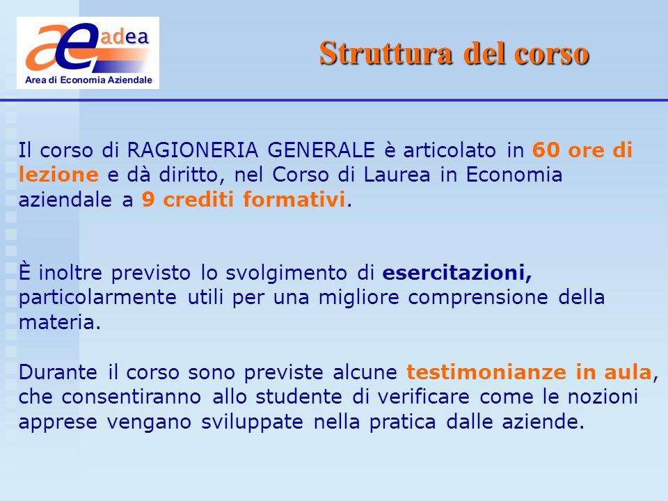 Contenuti del corso Primo modulo Logiche e fondamenti della contabilità Secondo modulo Il metodo di rilevazione e le scritture contabili Articolazione in tre moduli Terzo modulo Il bilancio desercizio