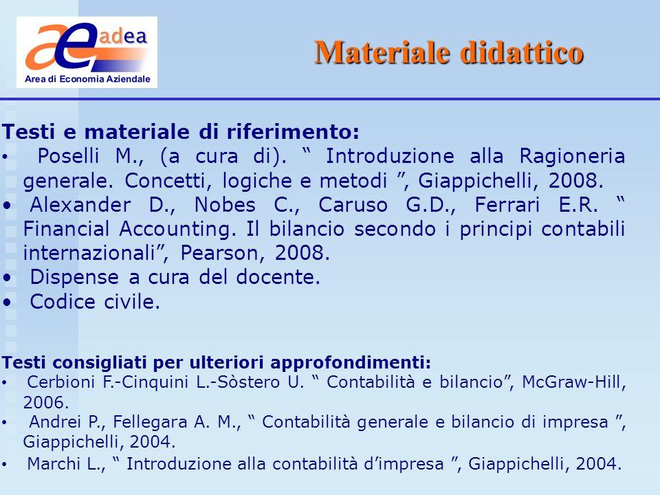 Materiale didattico Testi e materiale di riferimento: Poselli M., (a cura di). Introduzione alla Ragioneria generale. Concetti, logiche e metodi, Giap