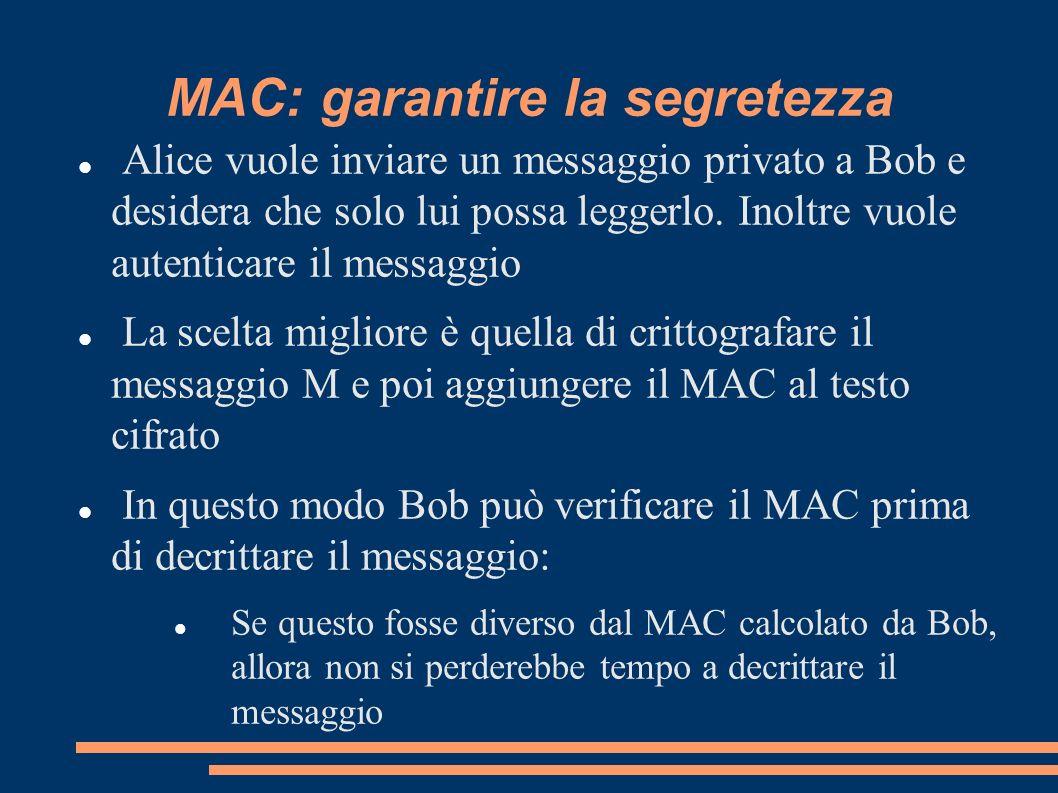 MAC: garantire la segretezza Alice vuole inviare un messaggio privato a Bob e desidera che solo lui possa leggerlo. Inoltre vuole autenticare il messa