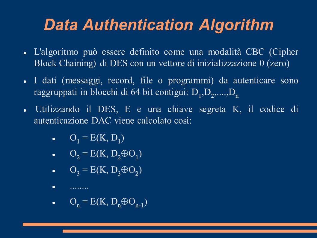 Data Authentication Algorithm L'algoritmo può essere definito come una modalità CBC (Cipher Block Chaining) di DES con un vettore di inizializzazione