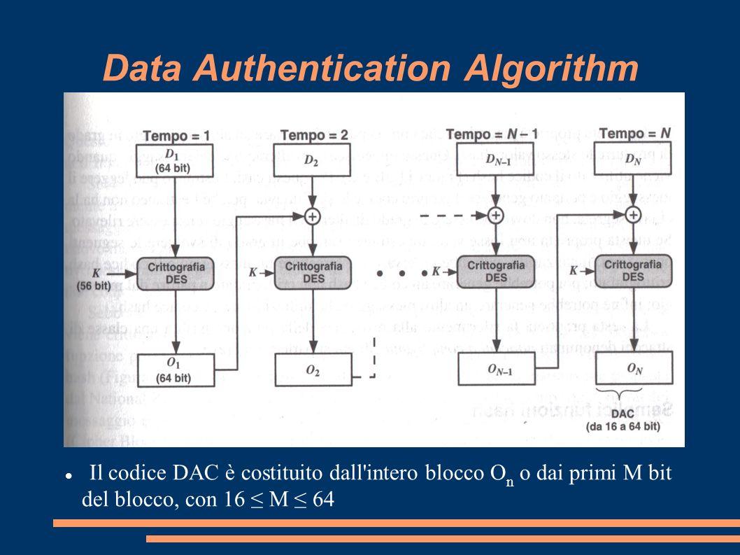 Data Authentication Algorithm Il codice DAC è costituito dall'intero blocco O n o dai primi M bit del blocco, con 16 M 64
