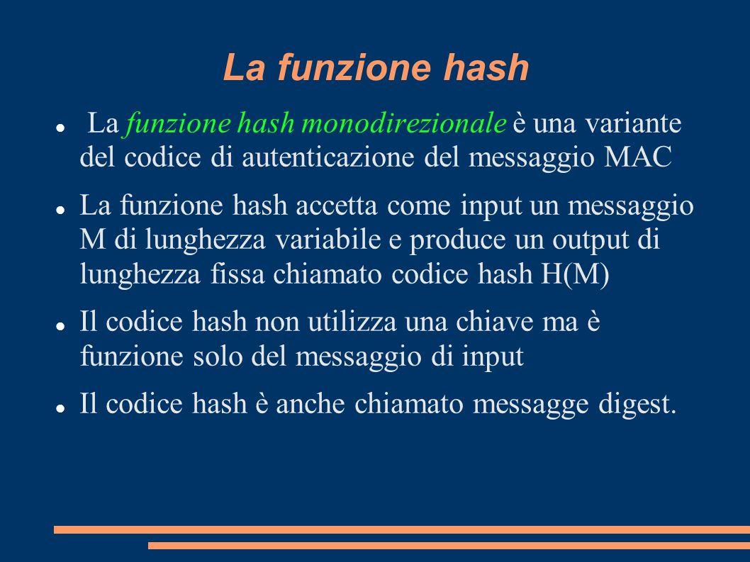 La funzione hash La funzione hash monodirezionale è una variante del codice di autenticazione del messaggio MAC La funzione hash accetta come input un