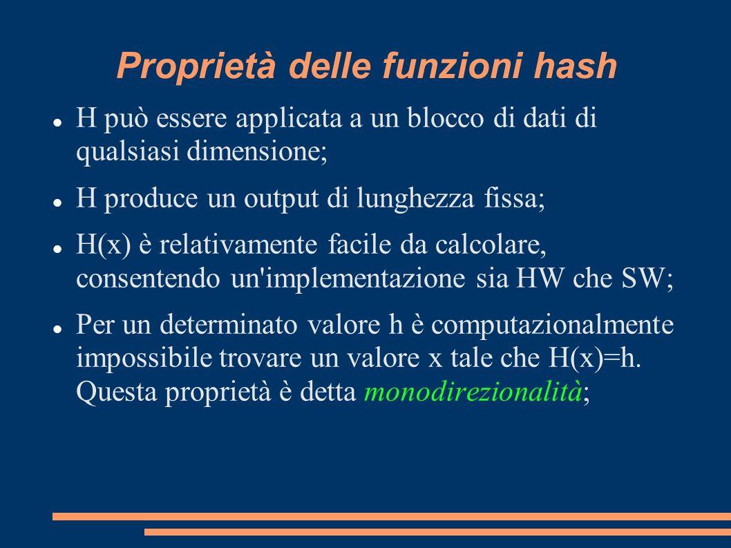 Proprietà delle funzioni hash H può essere applicata a un blocco di dati di qualsiasi dimensione; H produce un output di lunghezza fissa; H(x) è relat