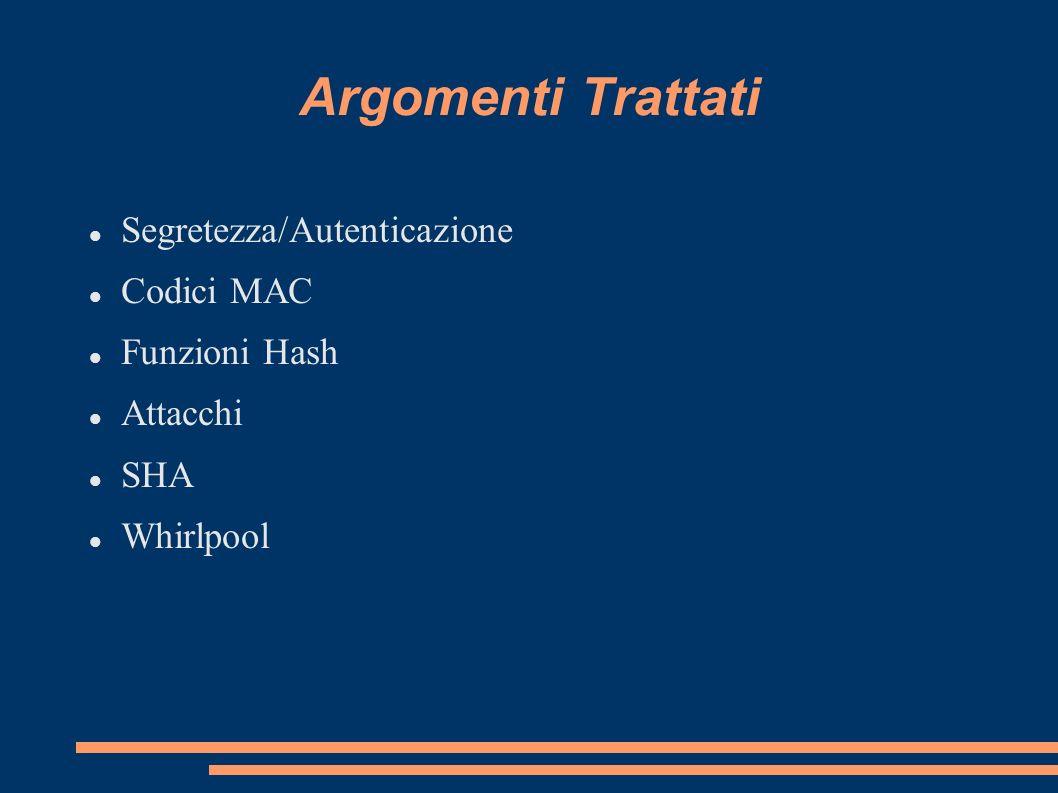 Argomenti Trattati Segretezza/Autenticazione Codici MAC Funzioni Hash Attacchi SHA Whirlpool