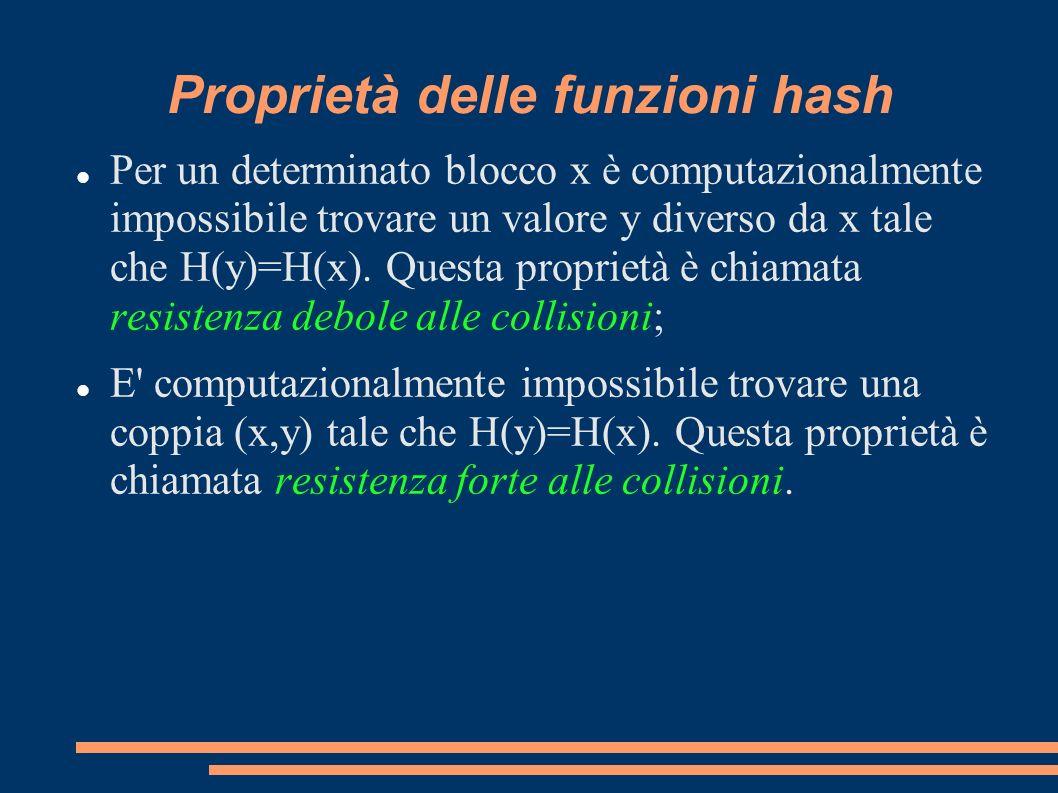 Proprietà delle funzioni hash Per un determinato blocco x è computazionalmente impossibile trovare un valore y diverso da x tale che H(y)=H(x). Questa