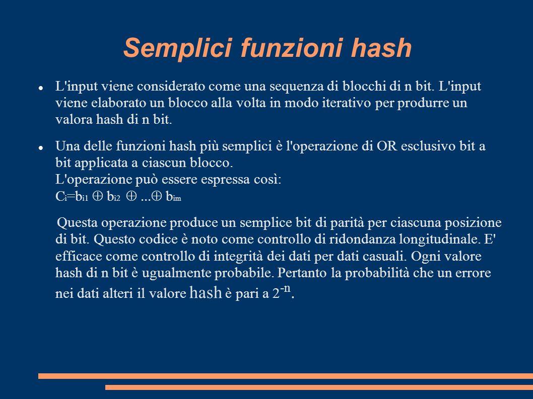 Semplici funzioni hash L'input viene considerato come una sequenza di blocchi di n bit. L'input viene elaborato un blocco alla volta in modo iterativo
