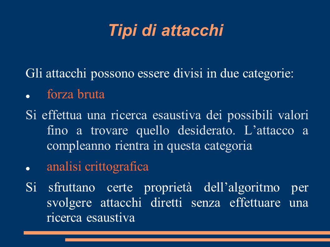 Tipi di attacchi Gli attacchi possono essere divisi in due categorie: forza bruta Si effettua una ricerca esaustiva dei possibili valori fino a trovar