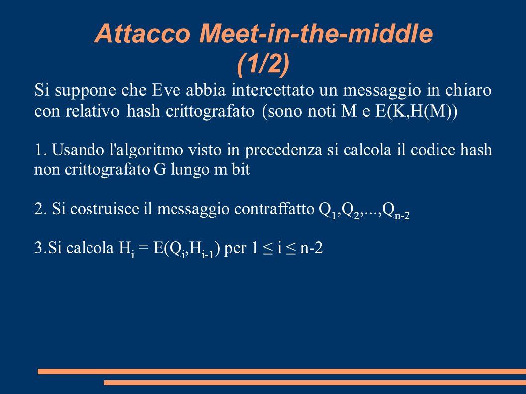 Attacco Meet-in-the-middle (1/2) Si suppone che Eve abbia intercettato un messaggio in chiaro con relativo hash crittografato (sono noti M e E(K,H(M))