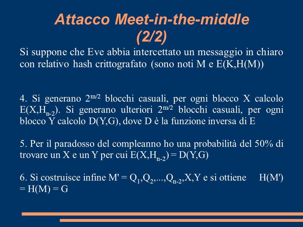 Attacco Meet-in-the-middle (2/2) Si suppone che Eve abbia intercettato un messaggio in chiaro con relativo hash crittografato (sono noti M e E(K,H(M))