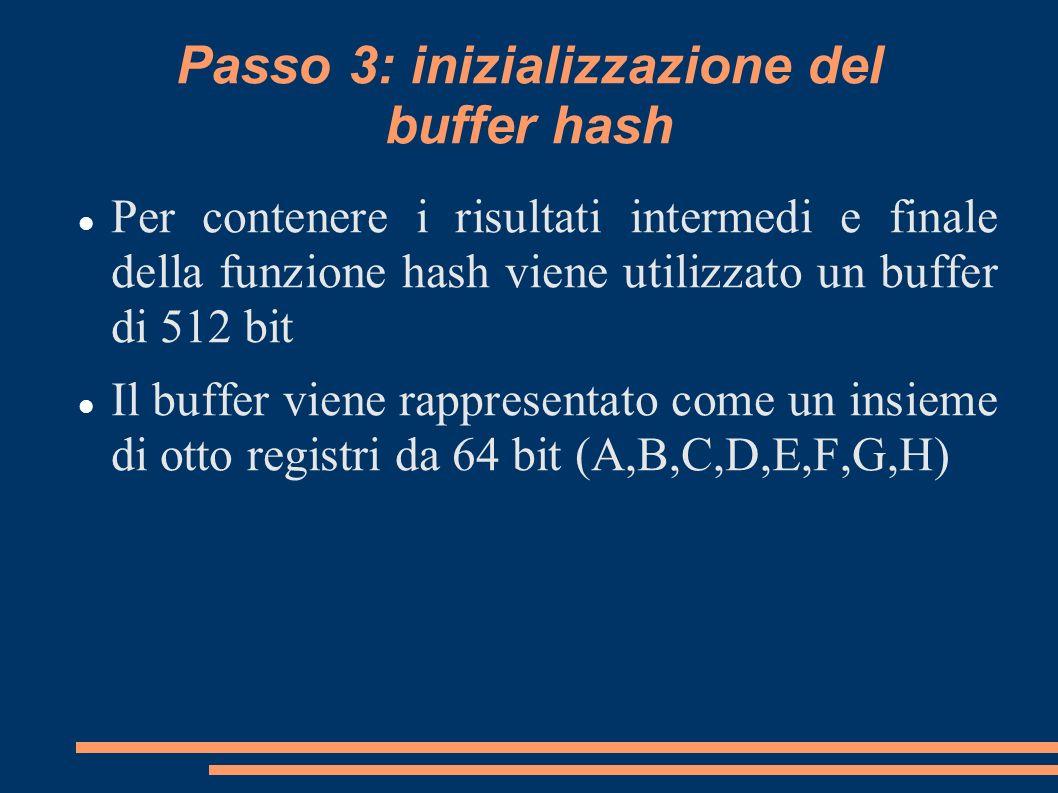 Passo 3: inizializzazione del buffer hash Per contenere i risultati intermedi e finale della funzione hash viene utilizzato un buffer di 512 bit Il bu