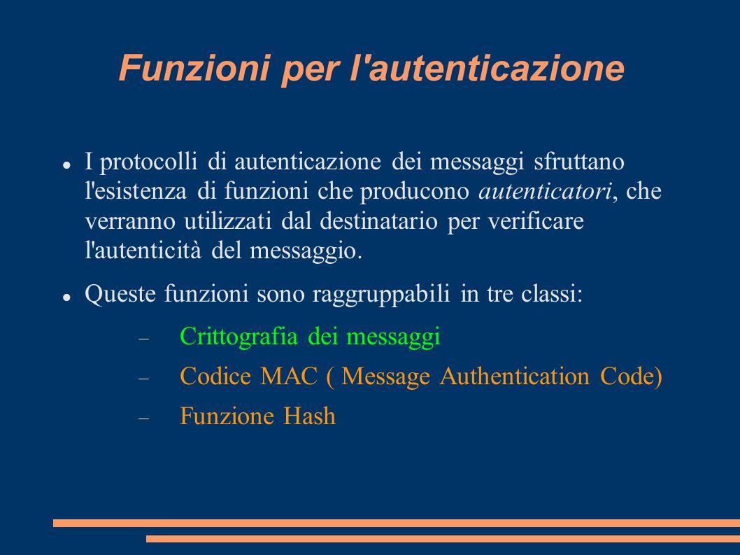 Funzioni per l'autenticazione I protocolli di autenticazione dei messaggi sfruttano l'esistenza di funzioni che producono autenticatori, che verranno