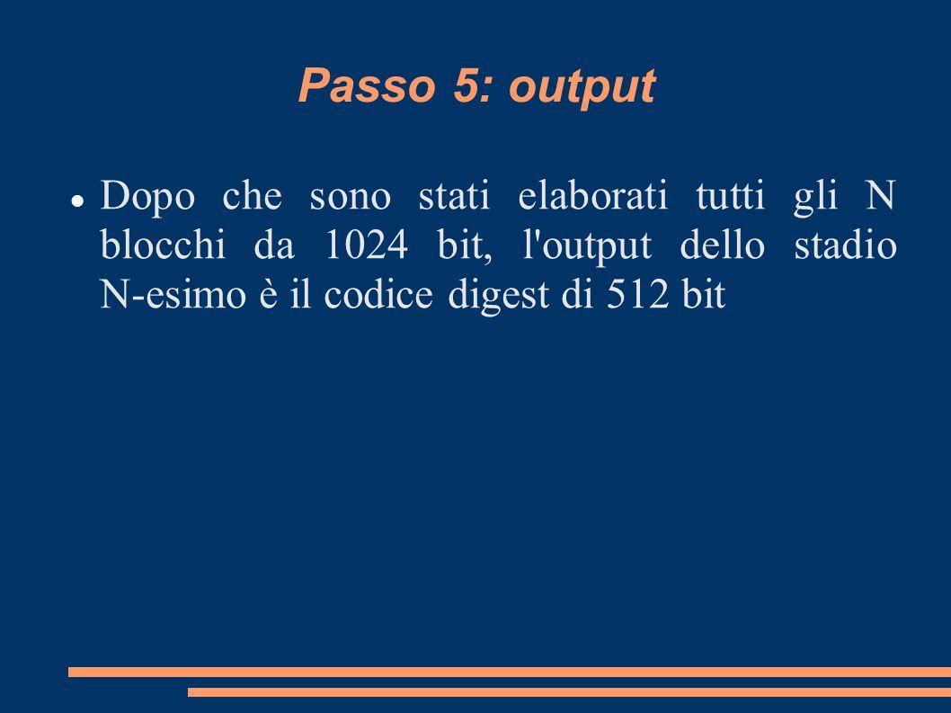 Passo 5: output Dopo che sono stati elaborati tutti gli N blocchi da 1024 bit, l'output dello stadio N-esimo è il codice digest di 512 bit