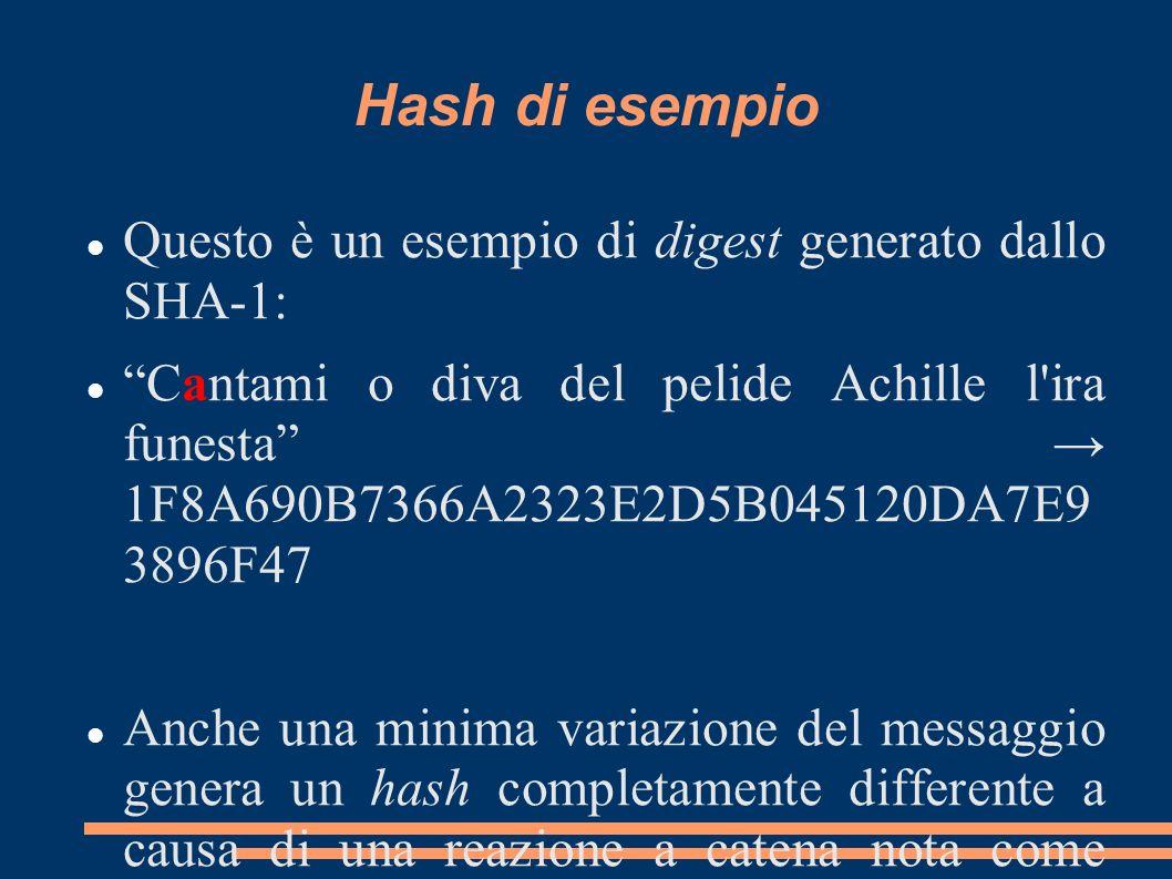 Hash di esempio Questo è un esempio di digest generato dallo SHA-1: Cantami o diva del pelide Achille l'ira funesta 1F8A690B7366A2323E2D5B045120DA7E9