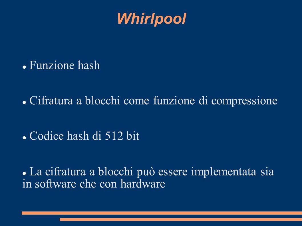 Whirlpool Funzione hash Cifratura a blocchi come funzione di compressione Codice hash di 512 bit La cifratura a blocchi può essere implementata sia in