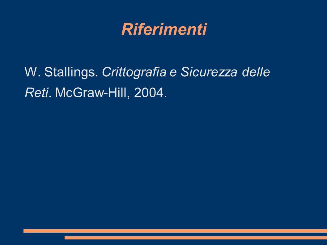 Riferimenti W. Stallings. Crittografia e Sicurezza delle Reti. McGraw-Hill, 2004.
