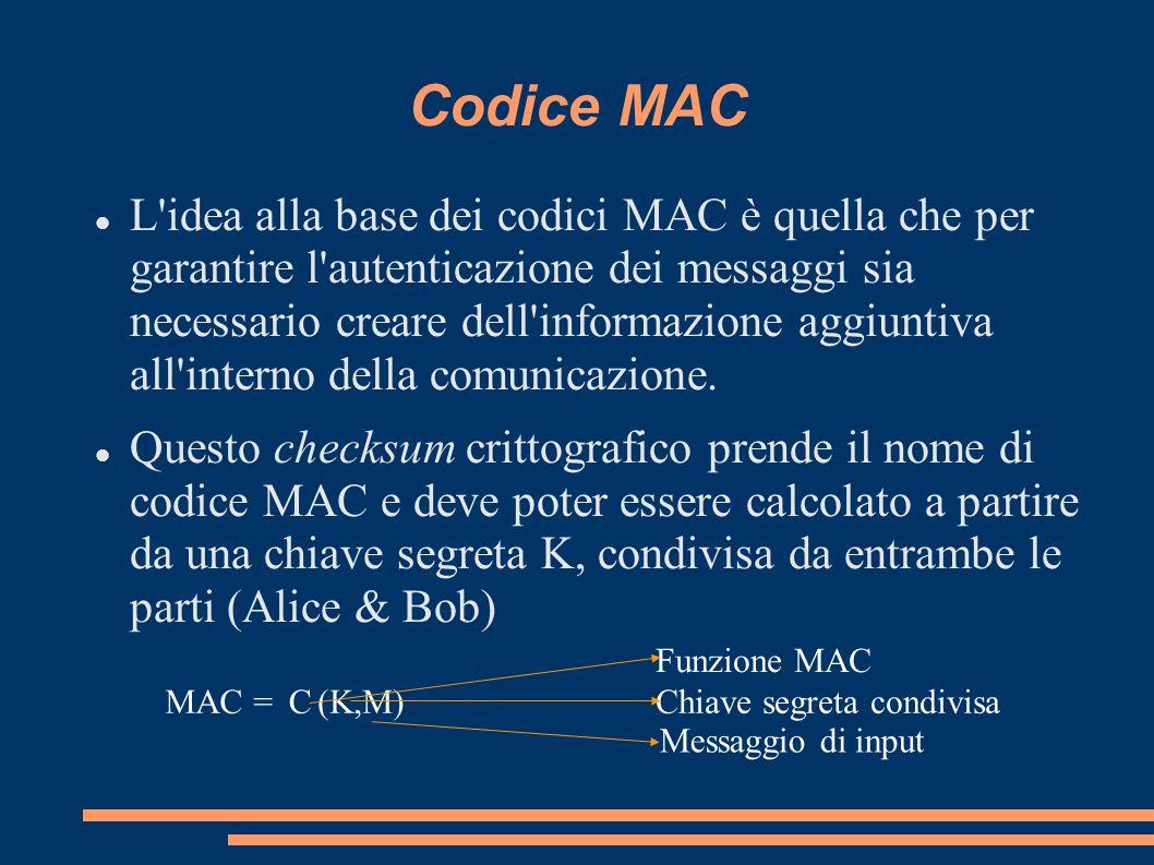 Codice MAC L'idea alla base dei codici MAC è quella che per garantire l'autenticazione dei messaggi sia necessario creare dell'informazione aggiuntiva
