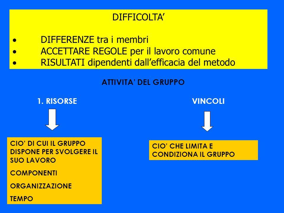 DIFFICOLTA DIFFERENZE tra i membri ACCETTARE REGOLE per il lavoro comune RISULTATI dipendenti dallefficacia del metodo 1. RISORSE CIO DI CUI IL GRUPPO