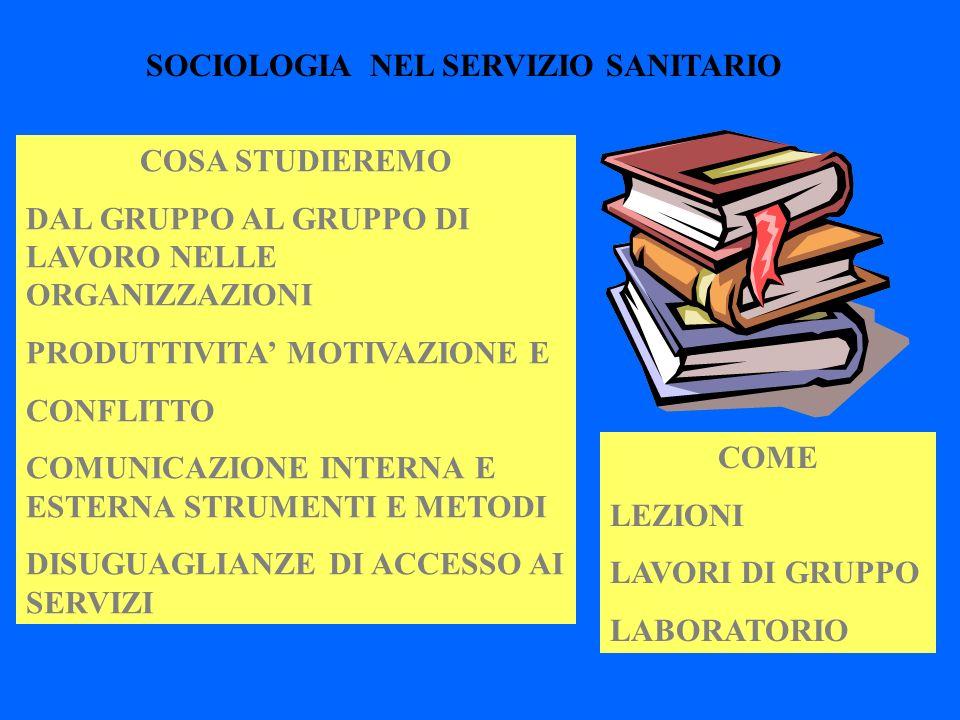 SOCIOLOGIA NEL SERVIZIO SANITARIO COSA STUDIEREMO DAL GRUPPO AL GRUPPO DI LAVORO NELLE ORGANIZZAZIONI PRODUTTIVITA MOTIVAZIONE E CONFLITTO COMUNICAZIO