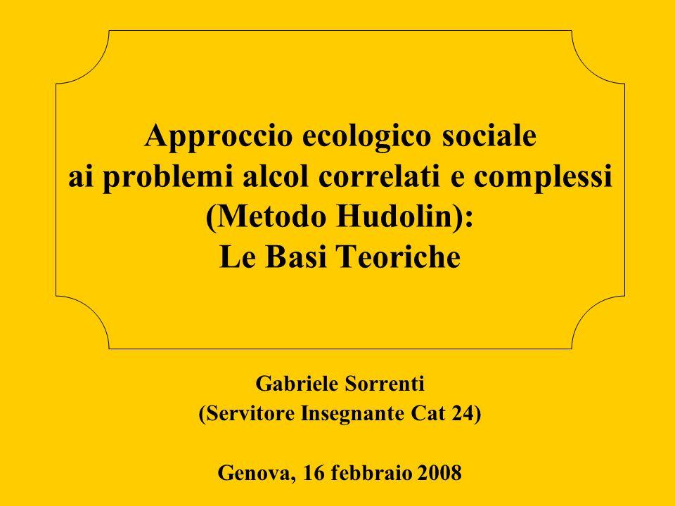 Cenni storici sull alcolismo Cos é l approccio ecologico sociale Principali basi teoriche Alcol Club Comunità Famiglia Spiritualità antropologica