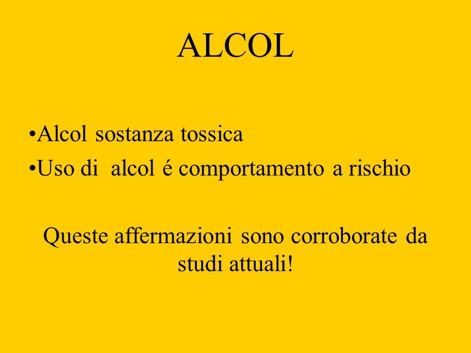 ALCOL Alcol sostanza tossica Uso di alcol é comportamento a rischio Queste affermazioni sono corroborate da studi attuali!