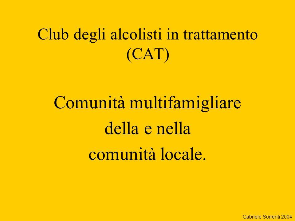 Club degli alcolisti in trattamento (CAT) Comunità multifamigliare della e nella comunità locale. Gabriele Sorrenti 2004