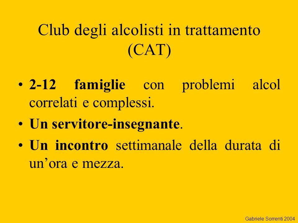 Club degli alcolisti in trattamento (CAT) 2-12 famiglie con problemi alcol correlati e complessi. Un servitore-insegnante. Un incontro settimanale del