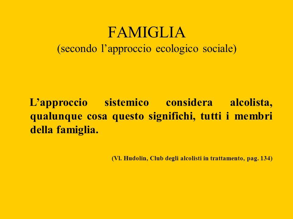 FAMIGLIA (secondo lapproccio ecologico sociale) Lapproccio sistemico considera alcolista, qualunque cosa questo significhi, tutti i membri della famig