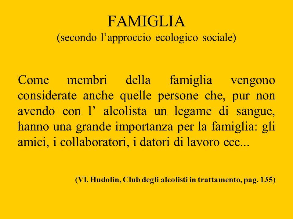 FAMIGLIA (secondo lapproccio ecologico sociale) Come membri della famiglia vengono considerate anche quelle persone che, pur non avendo con l alcolist